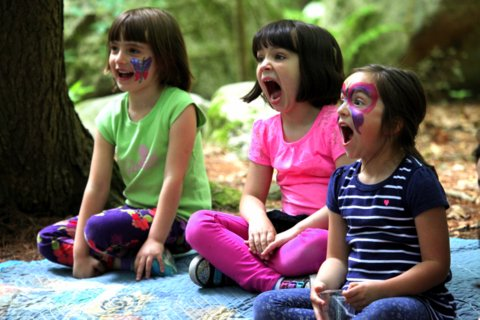 3 young girls making funny faces