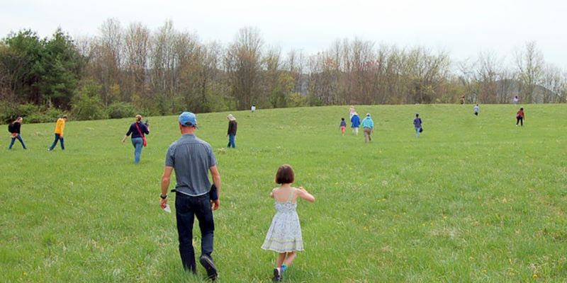 People Scattering In Spring Meadow