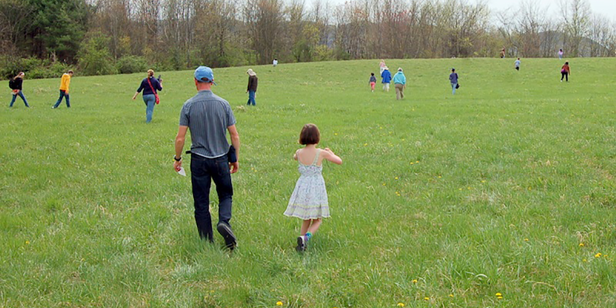 People scattered in meadow at springtime
