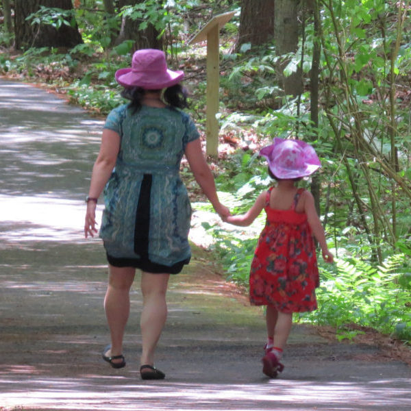 Mother and daughter walking along path at Fitzgerald Lake