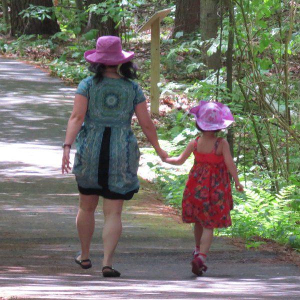 Mother and daughter walking along path at Fitzgerald Lake