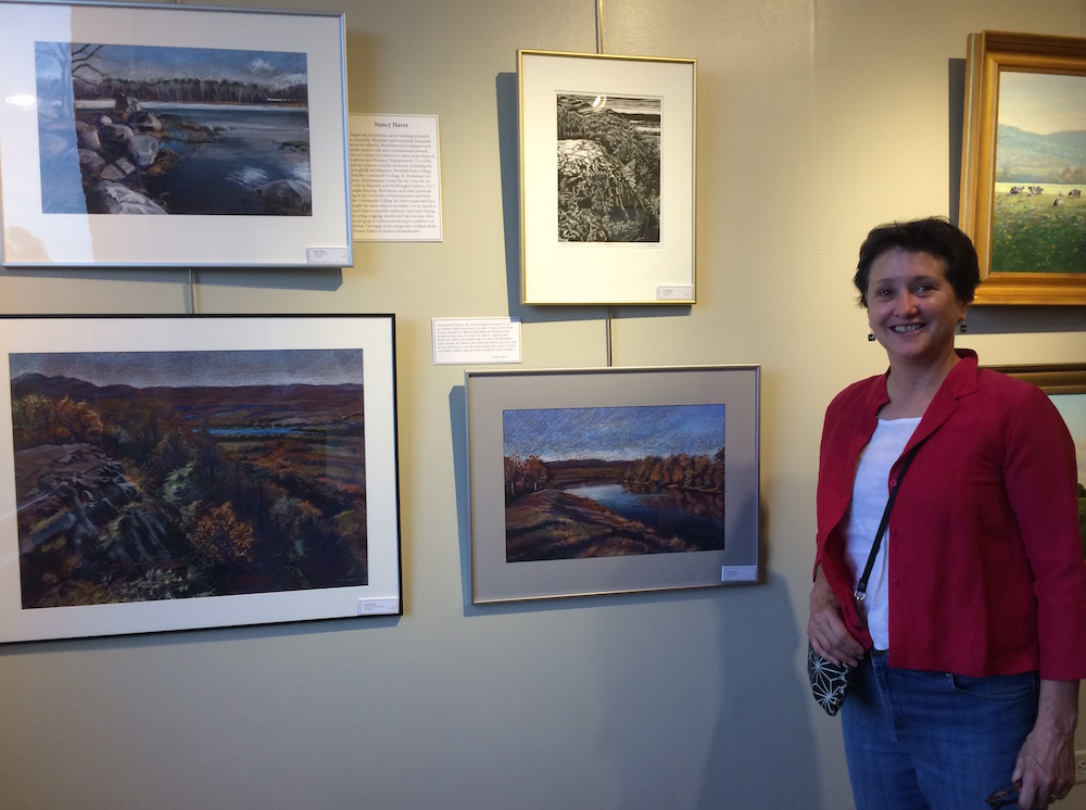 Nancy Haver With A Selection Of Her Paintings And Wood Cuts.