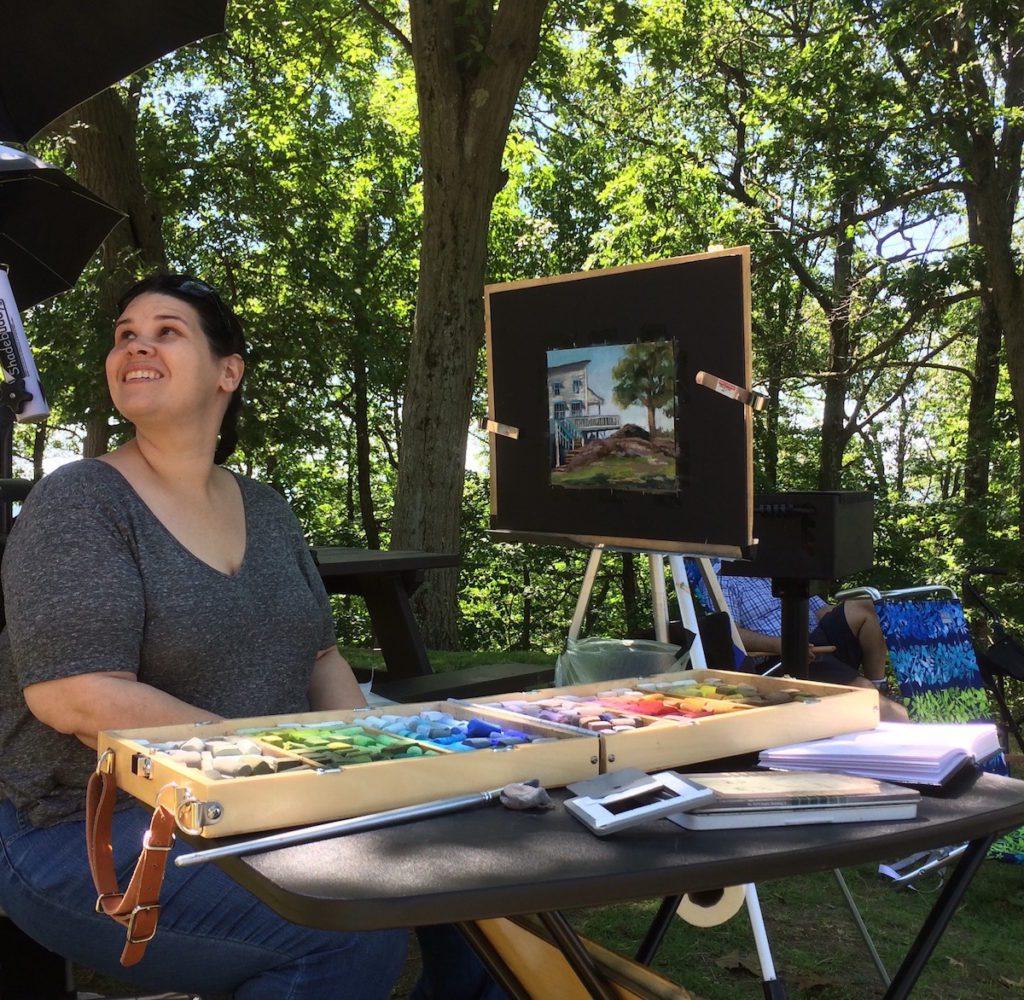 Meg Bandarra with her artwork