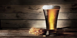 Beer glass with wheat