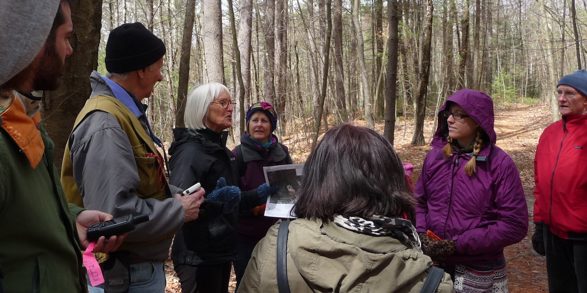 Group with GPS in woods
