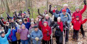 Group cheer in woods