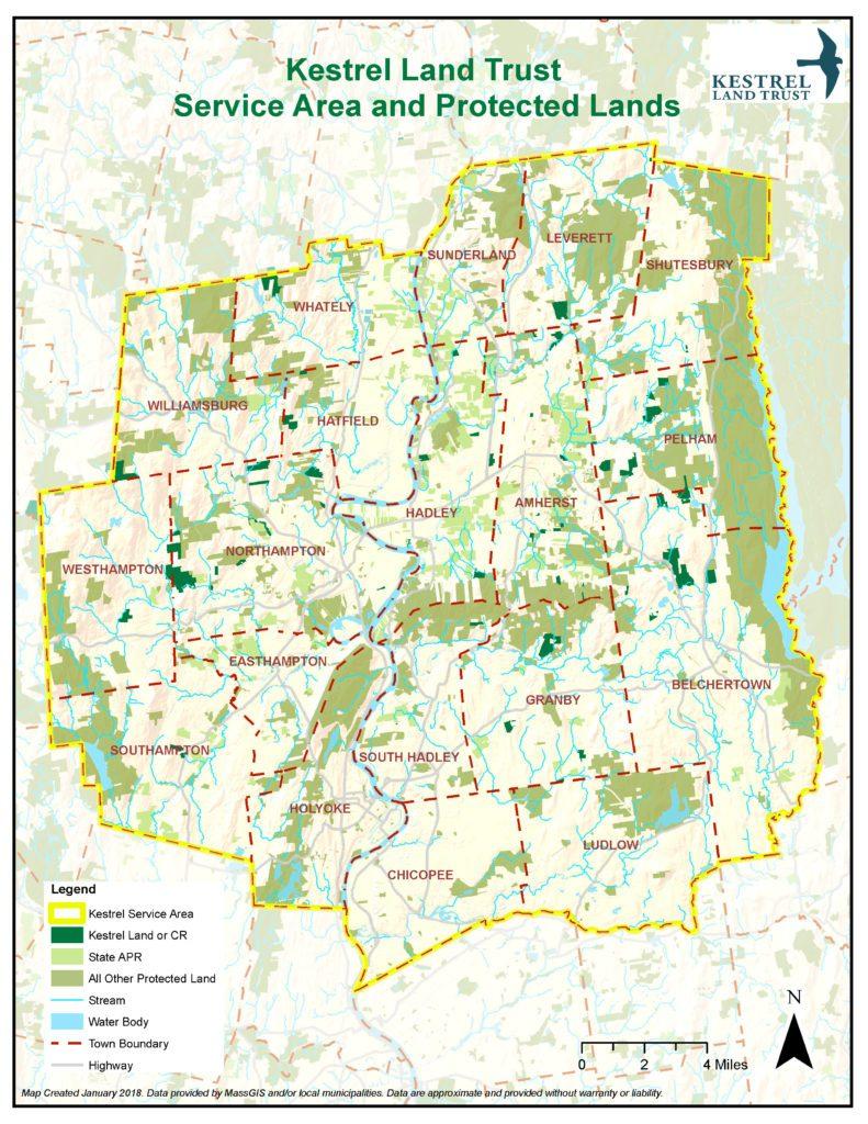 Kestrel Land Trust service area map