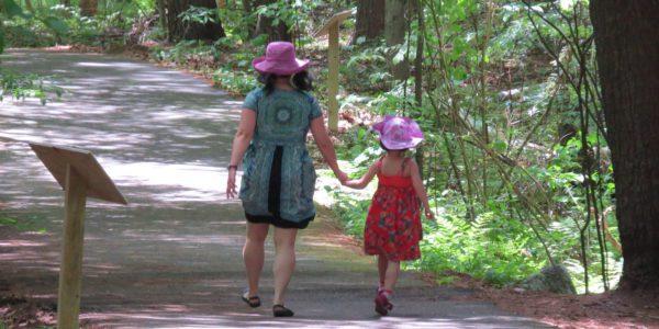 Mom And Girl On Story Walk Path
