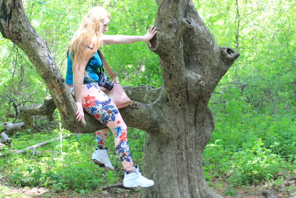 Girl in an old tree