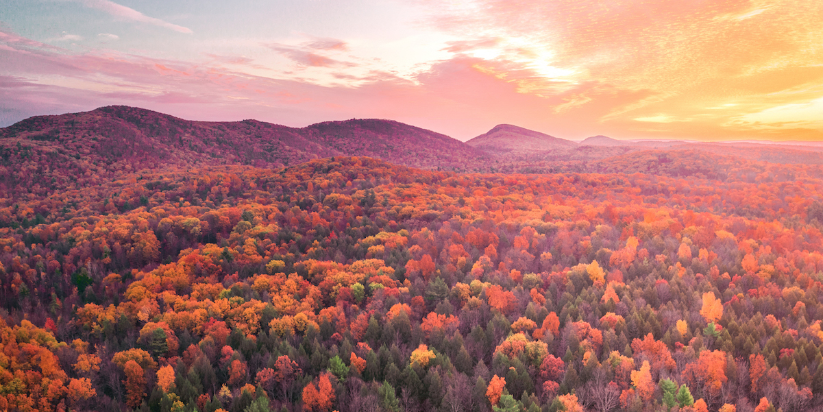 Mount Holyoke Range sunset in fall